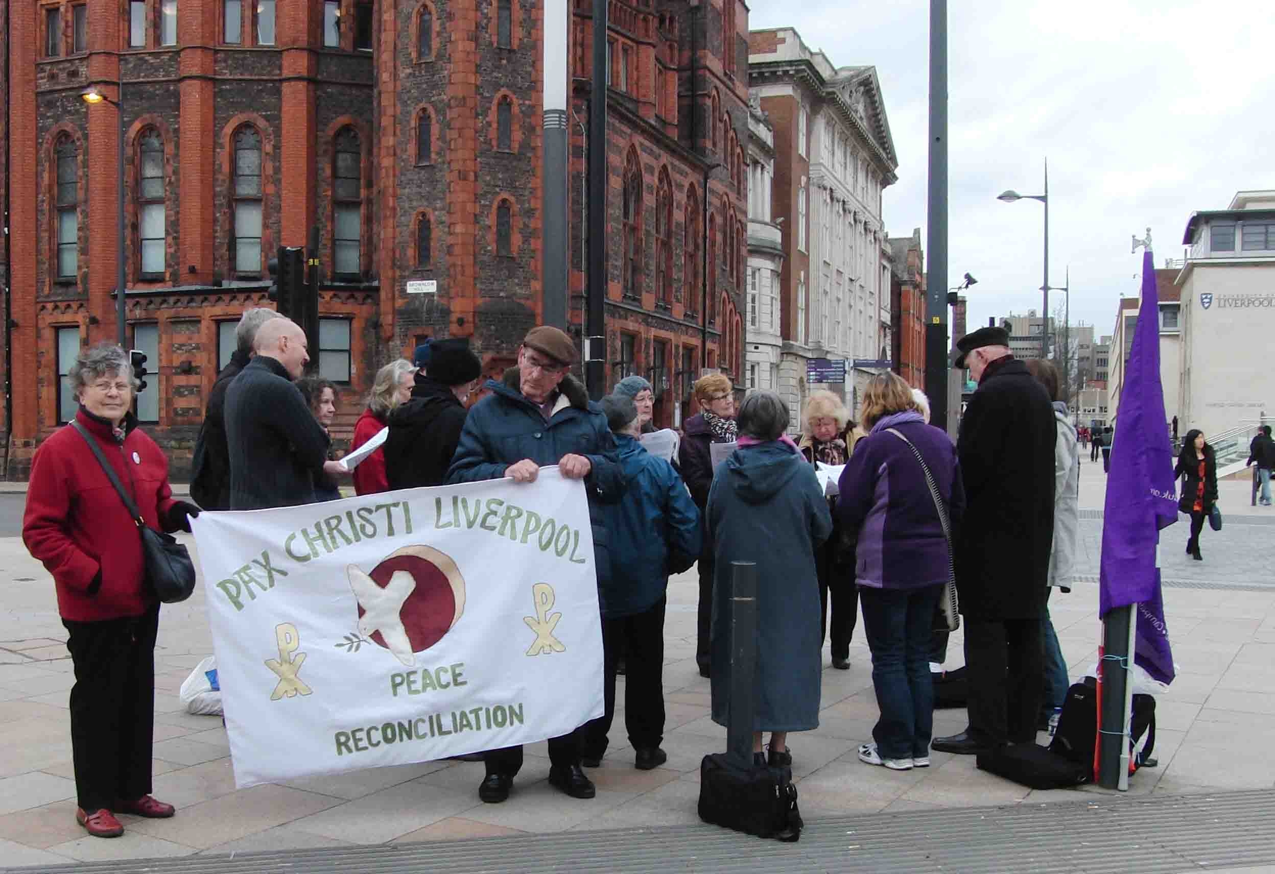 01e 5.3.14 Pax Christi Ash Wednesday drone witness at Liverpool University