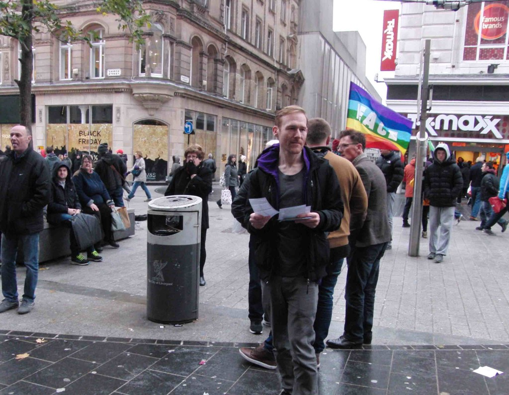 04e 28.11.15 Don't Bomb Syria leaflets in Church St Liverpool