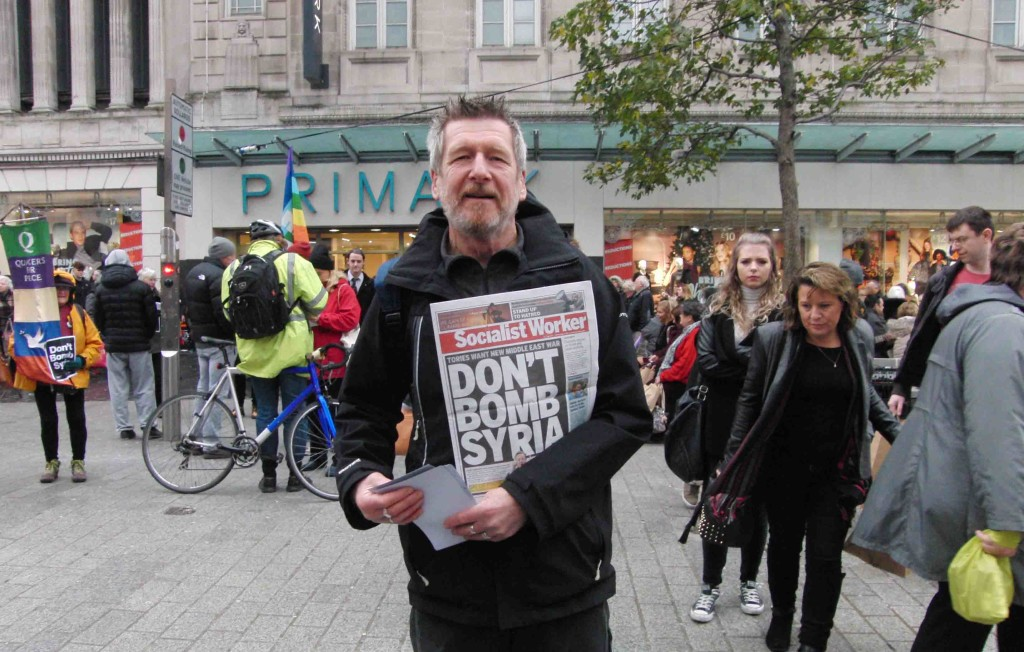 12e 28.11.15 Don't Bomb Syria leaflets in Church St Liverpool