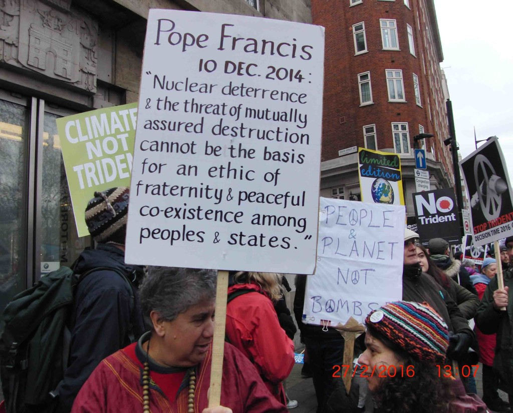 04e 27.2.16 Pope Francis message on Stop Trident Demo in London