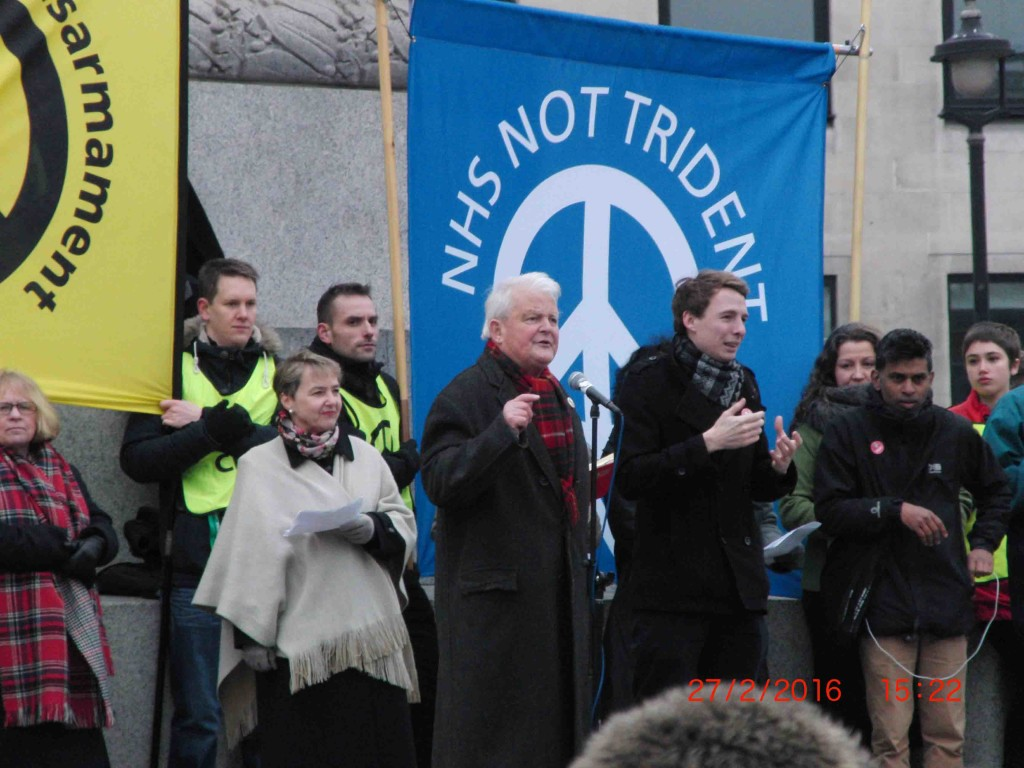 48e 27.2.16 Bruce Kent at Stop Trident Demo in London